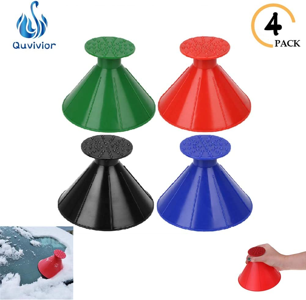 Quvivivor Snow Removal Tool Cone-Shaped Frost Removal Funnel Shaped Round Windshield Ice Scraper Car Window Glass Cleaning Tool Cone Ice Scraper for Car Funnel Windshield Wiper Magic Snow Remover