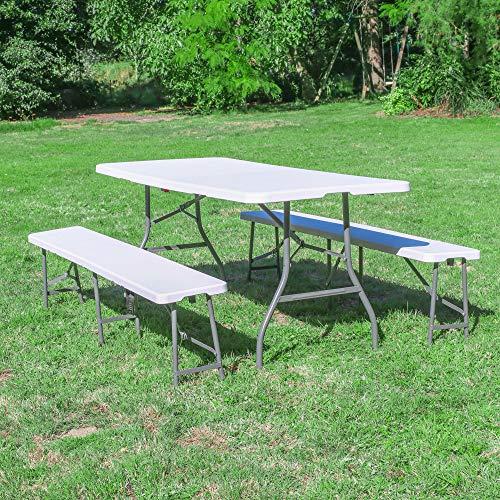 SKYLANTERN Ensemble Table et bancs Pliables Blanc 180cm - Lot 1 Table + 2 bancs Pliant pour Camping, cérémonie, Pique-Nique, Buffet et grillade