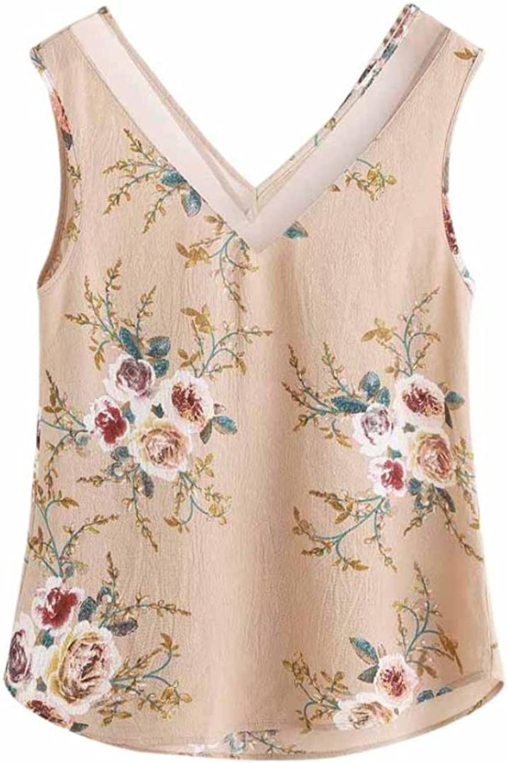 Floral Chiffon Tank Top for Women Cute Sleeveless Vest Elegant V Neck Blouse