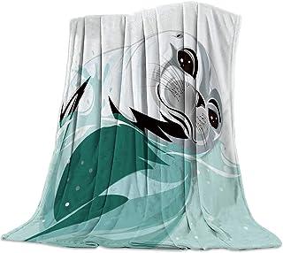 毛布 動物 海洋 海 髭 瞳 ブランケット エアコン対策 敷き毛布 フランネル シングル 暖かい 掛け毛布 洗える 柔らかい ふわふわ 軽い掛け布団 発熱効果 マイクロファイバー 125×150cm