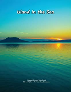 Island in the Sea: Wide ruled composition book with a stunning ocean view cover. Useful for school work, journaling and do...