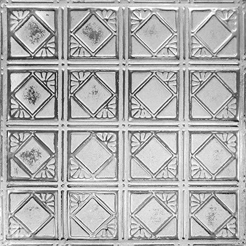 American Tin Ceilings Tin Backsplash Kit Pattern #19 Silver Washed White