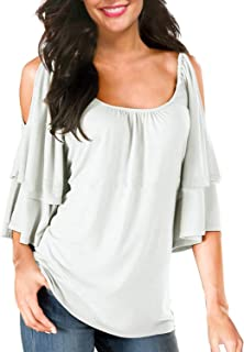 BBX Lephsnt Women's Petite Summer Cold Shoulder Ruffle Sleeve Loose Solid Color Stretch Tops Tunic Blouse Shirt