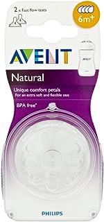 Philips Avent Natural SCF654/27 - Tetina para biberón, Silicona, flujo rapido con 4 agujeros, 6m+, paquete de 2