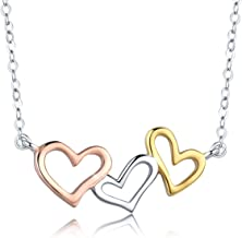 SIMPLOVE Infinity Love Heart Pendant Necklace, 925 Sterling Silver Lariat Y Shaped Necklace for Girls