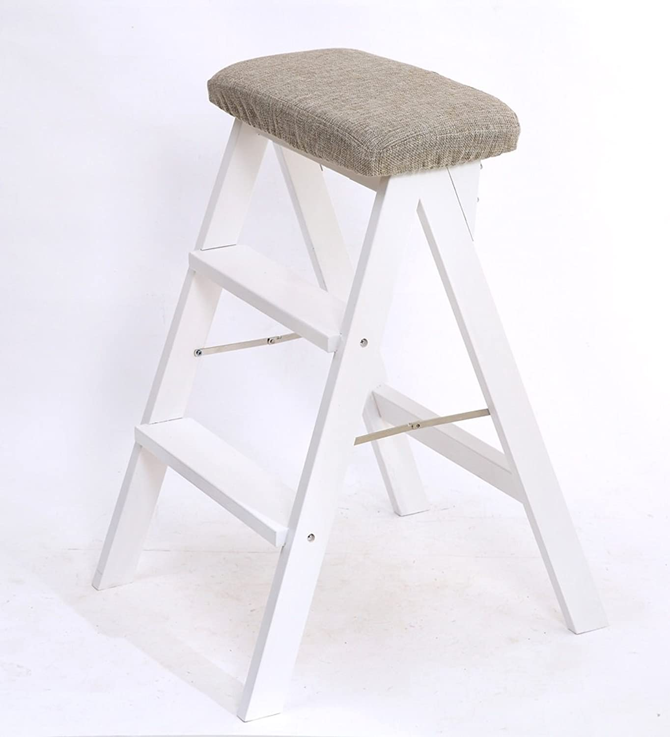 CAIJUN Solid Wood Folding Step Ladder Kitchen Portable Household White High Stool, High 63cm (color   1 )