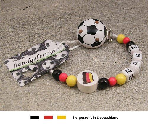kleinerStorch Baby SCHNULLERKETTE mit Namen - Motiv Fussball Deutschland Flagge - schwarz, rot, Gold