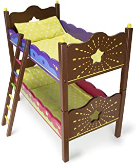 Imagination Generation Star Bright Colorful Bunk Beds Furniture with Bedding, Turns into 2 Twin Beds & Fits 18