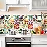 (24 Piezas) Pegatinas para Azulejos tamaño 10x10 cm PS00049 Adhesivo de Vinilo Decorativo para Azulejos de baño y Cocina