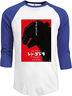 PONTAON Men's Godzilla 2016 Logo 3/4 Sleeve T-Shirt