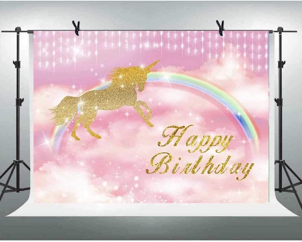 Zhy 1st Happy Birthday Banner Purple Glitter Background 7x5ft Gold Unicorn Birthday Party Photo Backdrop for Baby Shower Newborn Kids Dessert Table Decor Backdrop Props 11EE050
