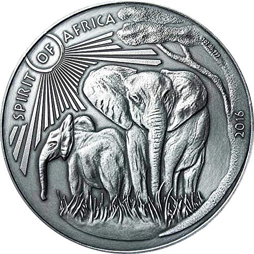 Power Coin Elephant Elefante II Spirit of Africa 1 Oz Moneda Plata 1000 Francos Burkina Faso 2016