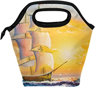 Mydaily Lunch Box Sailing Boat and Sea Waves Sunset Oil Painting Reusable Insulated School Lunch Bag for Women Kids