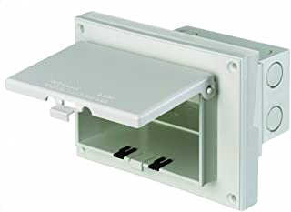 Arlington DBHR151W-1 Low Profile IN BOX Electrical Box with Weatherproof Cover for Retrofit Siding Construction, 5/8-Inch Lap, Horizontal, White
