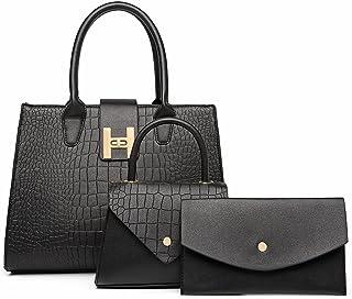 ROAISS 3pcs Women Fashion Handbags Satchel Purses Crocodile Pattern Wallet Tote Bag Shoulder Bag Top Handle (Black)