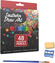 Watercolor Pencils Set for Drawing, Painting and Coloring - with Free Eraser, Sharpener and Blending Brush (48 Colors)
