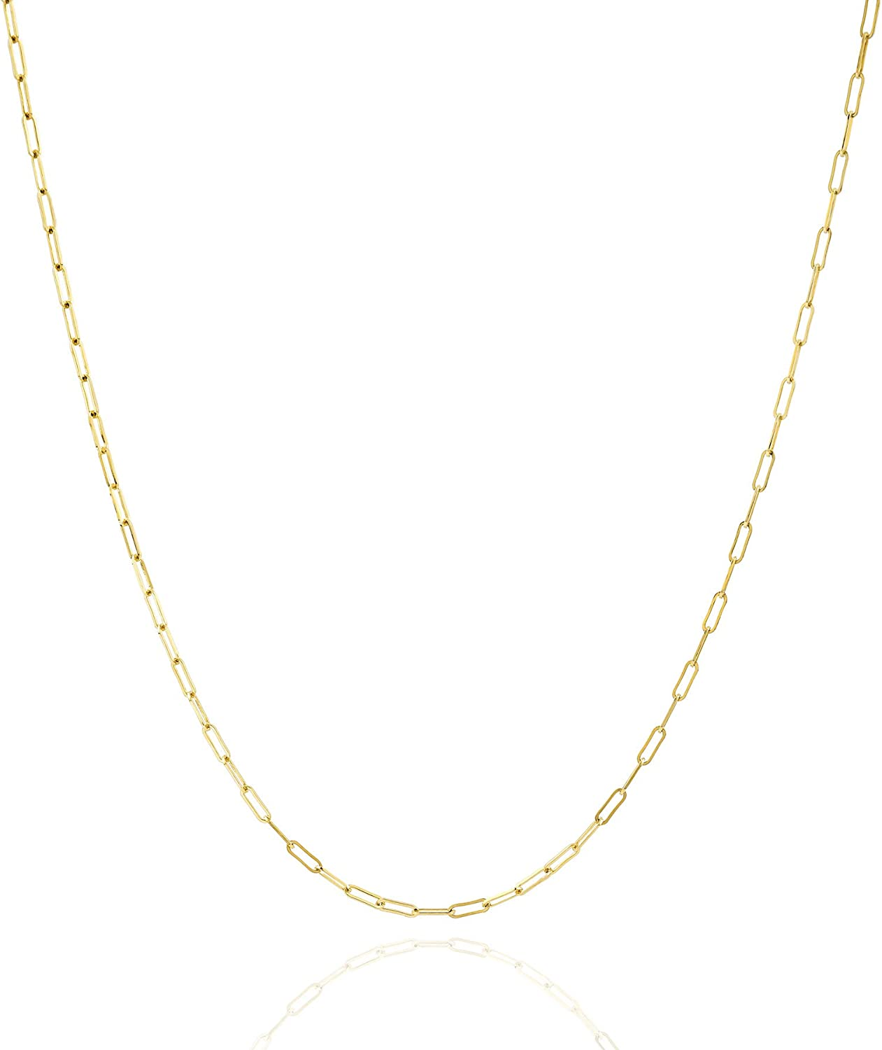 Jewelry Atelier Gold Chain Necklace Collection - 14K Solid Yellow Gold Filled Paper Clip Link Chain Necklaces for Women and Men with Different Sizes (2.0mm, 2.5mm)