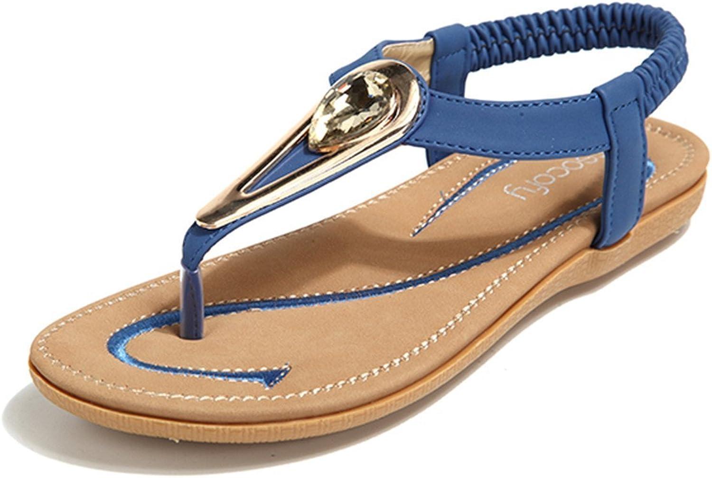 Socofy Bohemian Sandals,Women's Metal Rhinestone Elastic Clip Toe Slip On Summer Beach Casual Sandals bluee 8 B(M) US