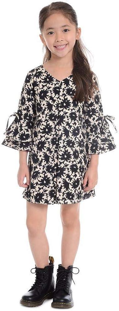 Pastourelle Girls' V-Neck Sheath Dress Bell Sleeves