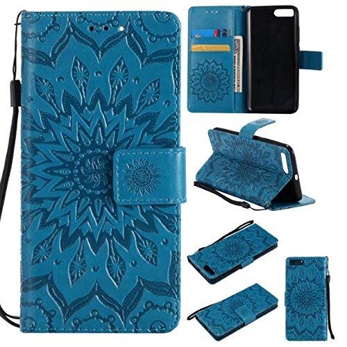 Aralinda - Custodia a portafoglio in pelle sintetica con motivo floreale e chiusura a portafoglio, con scomparto per carte di credito, compatibile con Mi Mi6, colore: Blu
