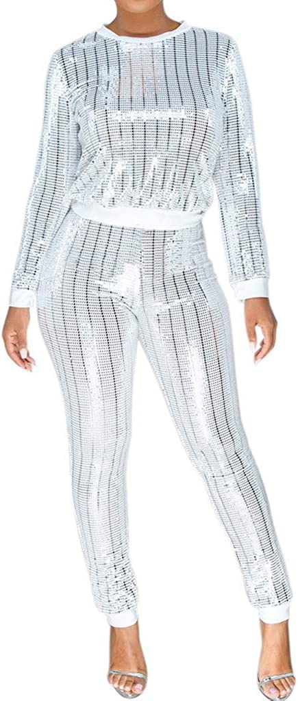 Arlington Max 54% OFF Mall SERYU Tracksuit Women's Sequins Set Hoodie Outfits Sleeve Long