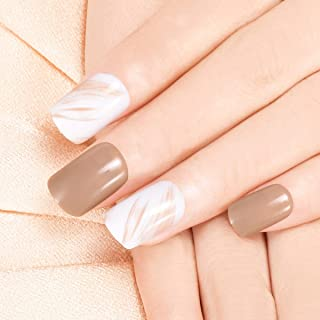 Doreliss False Nails Classics 30 Pcs Press On Nails with nail tapes Beige
