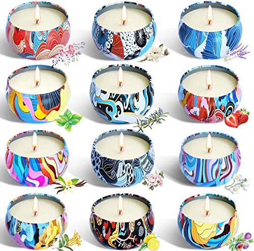 YIHANG 12 Scented Candles Set,Soy Wax Aromatherapy Candles for Yoga,Relaxation,Stress Relief,Home Fragrance,Air Refresh.Candles Scented for birthday gifts,Christmas and wedding gifts
