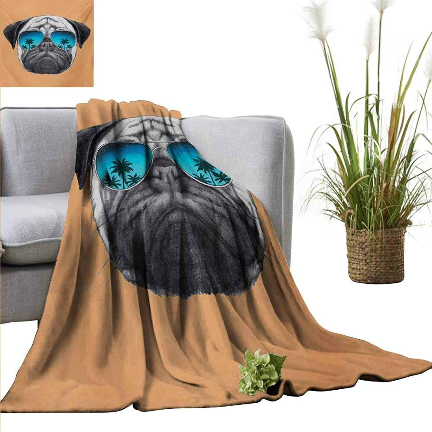 AndyTours Bed Blanket,Pug,Dog with Reflecting Aviators Palm Trees Tropical Environment Cool Pet Animal,Black orange bluee,for Bed & Couch Sofa Easy Care 35 x60