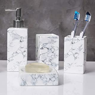 MyGift 4-Piece White & Grey Marble Style Ceramic Bathroom Accessory Set