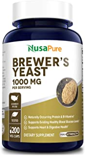 Sponsored Ad - Brewers Yeast 1000mg 200 Vegetarian Caps (Non-GMO & Gluten Free) Supports Heart Health and Digestion