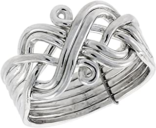 Sterling Silver 6-Piece Puzzle Ring Wire Wrapped Handmade, 1/2 in. (13 mm) wide