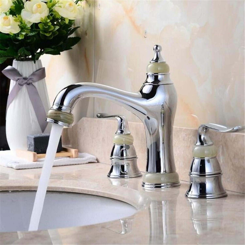 Faucet Washbasin Mixer Luxury 8 Inch Widespread Basin Faucet Brass and Jade Bathroom Sink Faucet Chrome gold pink gold Basin Mixer Crane Tap Mixer
