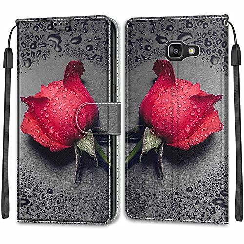 Telefono Custodia per Samsung Galaxy A5 2016/A510,Magnetica Custodia Shock-Absorption Protettiva Portafoglio Cover PU Pelle Case per Samsung Galaxy A5 2016/A510 Fiore Rose