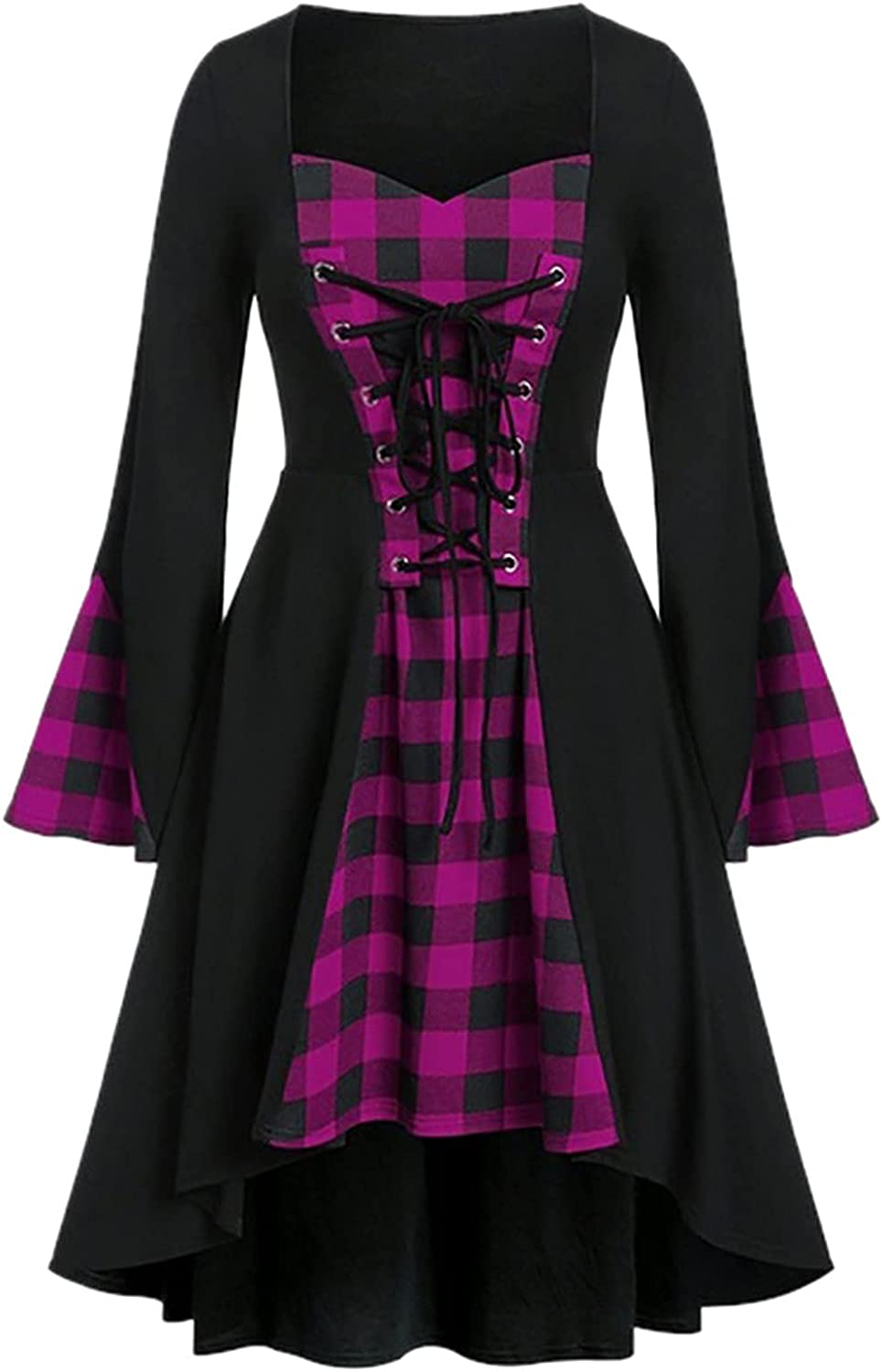 Gothic Style Dress for Women Inventory cleanup At the price selling sale Plus Lattice Lace Halloween Up Size