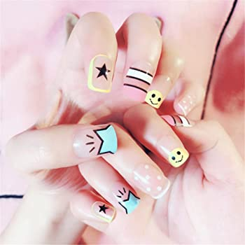 Nail Art Tip & Glue Cartoon Star Smile Pattern Artificiales uñas ...