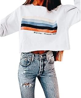 Mitiy Cropped Sweatshirts Women Cute Rainbow White Aesthetic Baggy Sweater Oversized Juniors Teen Girls