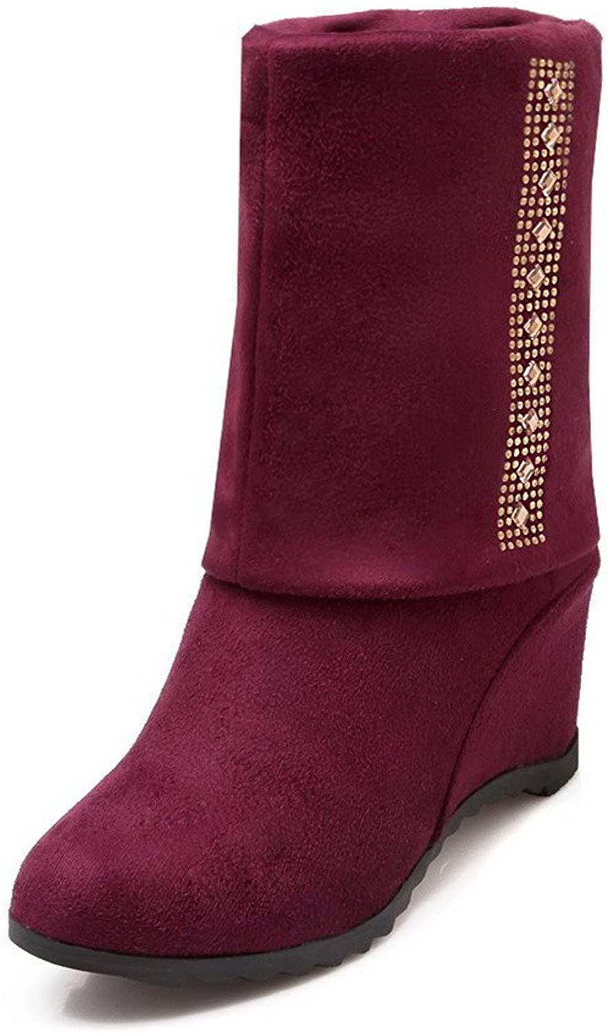 AllhqFashion Women's Pull-on Round Closed Toe High Heels Imitated Suede Low-top Boots