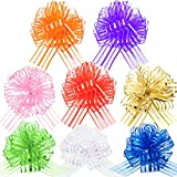 8 Pieces Pull Bow Mixed Color Large Organza Pull Bow Gift Wrapping Pull Bow with Ribbon for Wedding Gift Baskets, Ribbon Bow for Wrapping and Decoration, 6 Inches Diameter