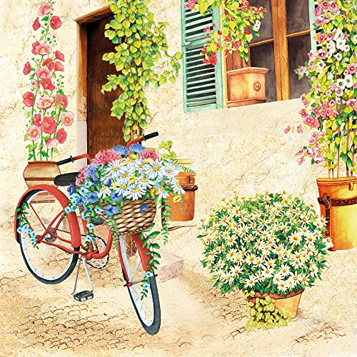 20Servilletas Cottage Flores bicicleta/Flores/Primavera/Verano 33x 33cm