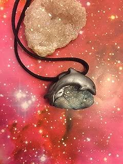 Dolphin Song. Aqua Aura Quartz Cluster Necklace. Sirius Starseed Collection. Dolphin Stone Jewelry. Aqua Aura Jewelry. Sirius Constellation