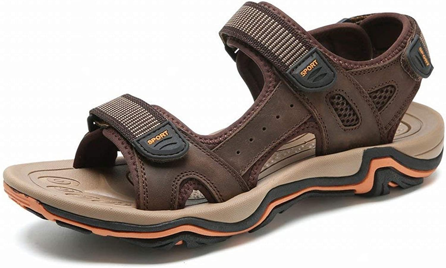 Fuxitoggo Fashion Casual Beach shoes First Layer Leather Sandals Lightweight Velcro Men Sandals (color   Dunkelbrown, Size   41)
