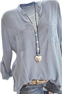 e24241ff304fff Damen Freizeit V-Ausschnitt Manschetten-Ärmel Locker Punkte Taschen Shirt  Bluse