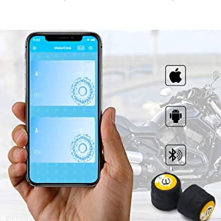 SPRIS Motorcycle Tire Pressure Monitoring Tpms, Tire Pressure Monitoring System External Voice Alarm Mobile Phone Large Screen Smart Machine Bluetooth 4.0 (for Various Models)