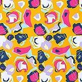 Softshell Abstrakte Muster – orange/pink — Meterware ab