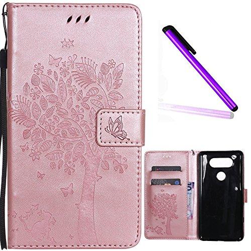 LG V20 Cover EMAXELER Diamond Embossed Stylish Kickstand Credit Cards Slot Cash Pockets PU Leather Flip Wallet Case for LG V20 H990N Wish Tree Rose Golden