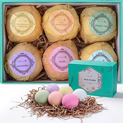 Aprilis Bath Bombs Gift Set, Organic & Natural Essential Oil Bath Bombs for Dry Skin Moisturizing, Handmade Fizzy Spa Bath Set, Perfect Birthday/Christmas Gift for Women Kids