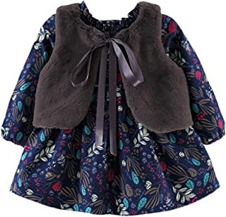 Mornyray Baby Kids 2-pc Autumn Long Sleeve Floral Dress and Vest Shawl Clothes Set