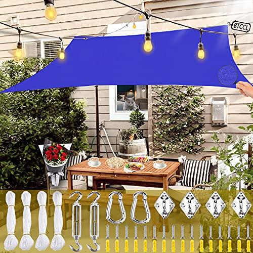 BTCCL Vela De Sombra Rectangular,Impermeable ProteccióN Rayos UV Oxford Toldo De Vela,Transpirable Aislamiento Parasol Toldo,para Jardin Piscina-Royal Blue   4x7m(13x23ft)