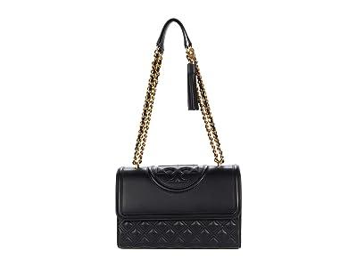 Tory Burch Fleming Convertible Shoulder Bag (Black) Handbags