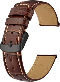 Anbeer Classic Alligator Grain Leather Watch Band with Black Buckle, Choice of Width 18mm 20mm 22mm